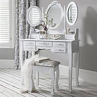 Косметический столик с 3-ма зеркалами и пуфом, фото 1