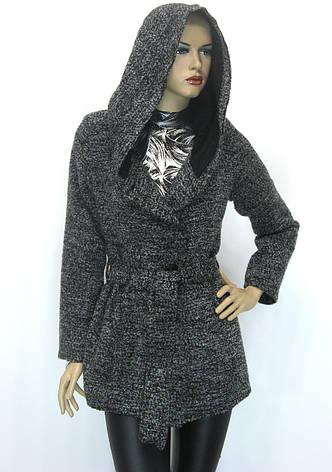 Жіноче пальто кардиган з капюшоном, фото 2
