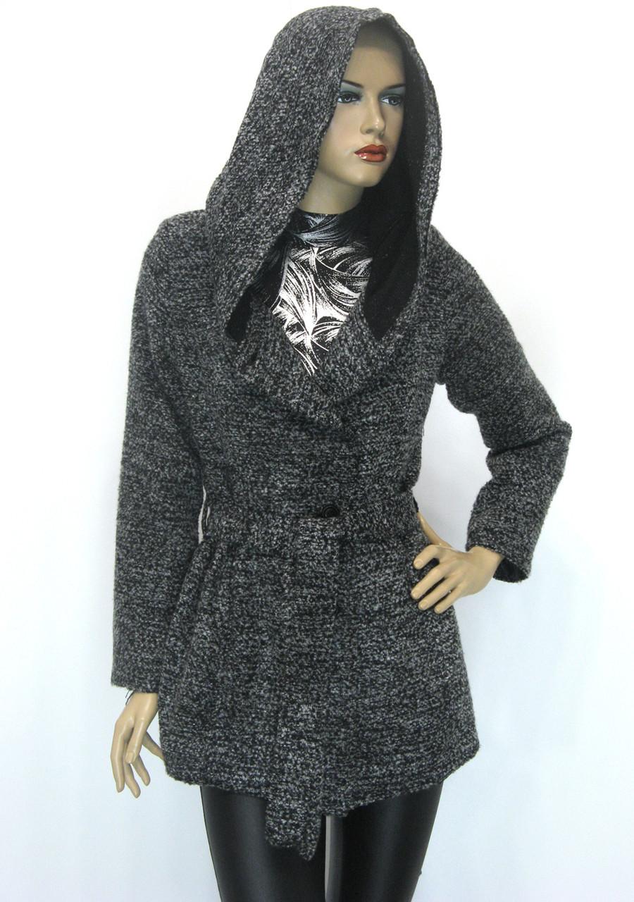 Жіноче пальто кардиган з капюшоном