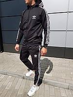 Спортивный костюм мужской в стиле Adidas black с капюшоном осенний / весенний