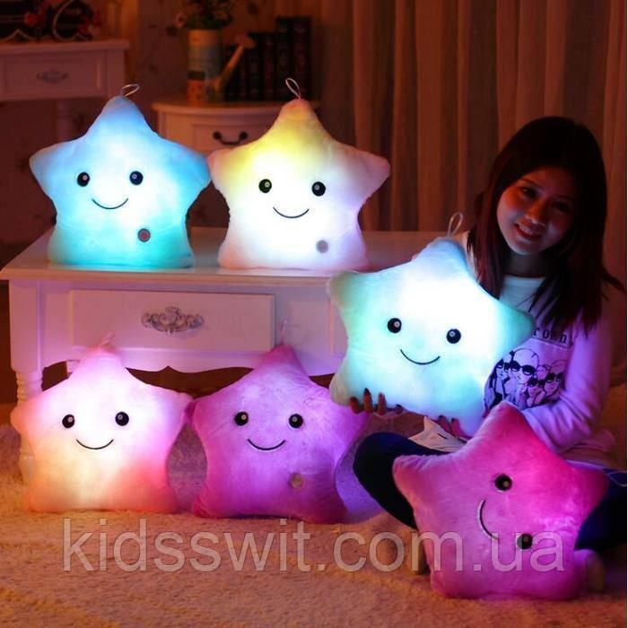 Подушка світиться для дітей, подушка-іграшка зірочка, білого кольору