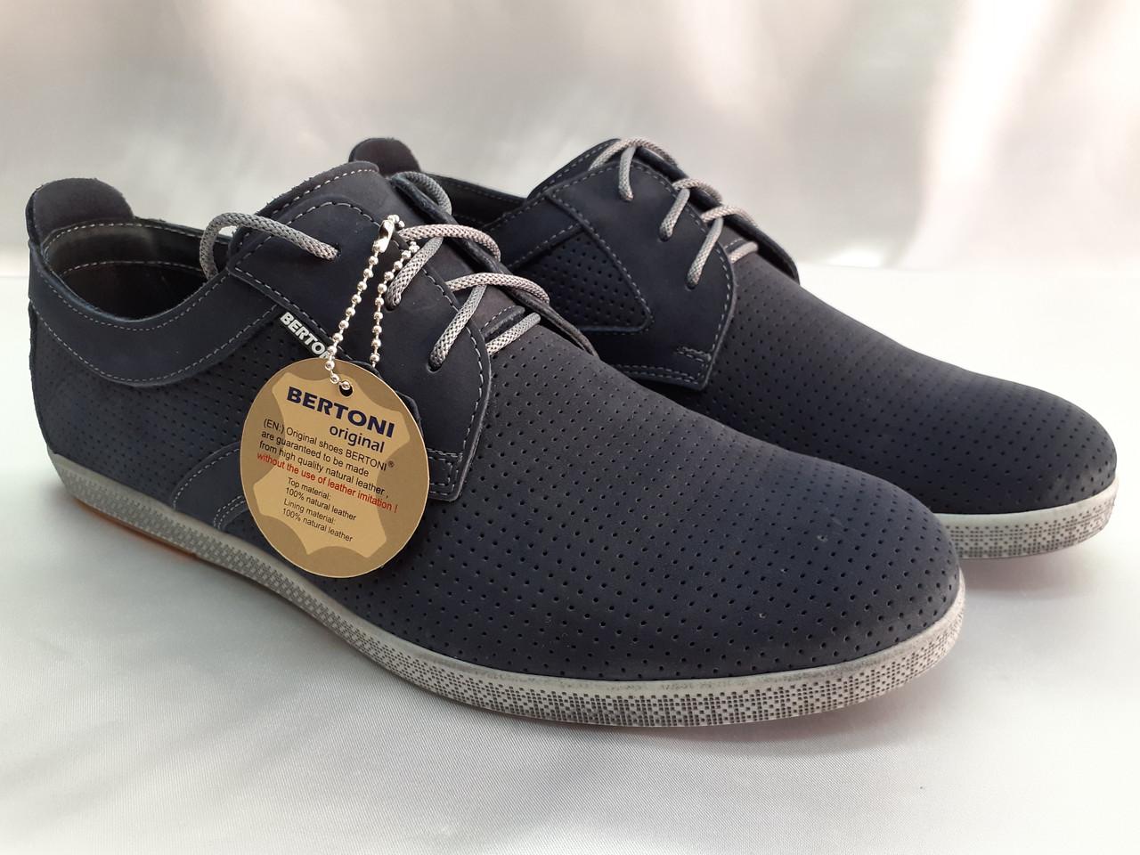 Весенние мужские мокасины на шнурках Bertoni