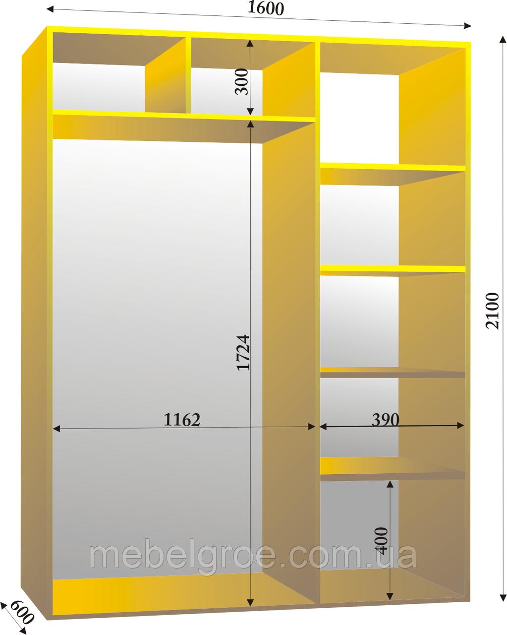 Шкаф-купе двухдверный 1600х600х2100 тм Эксклюзив