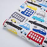 """Бязь польская """"Сине-красные автобусы и машины"""" на белом фоне (2413), фото 4"""