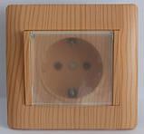 Розетка iз заз. з кришкою черный глянец OSCAR (з рамкою), фото 4
