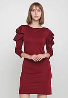 Стильное лаконичное платье с воланами и вырезами на плечах Hanna