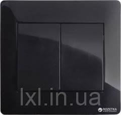 Вимикач подвійний черный глянец OSCAR (З РАМКОЮ)