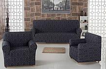 Чехол на диван и два кресла Жаккард Milano Karna Турция 50031 Темно-серый