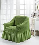 Чохол на крісло з спідницею Зелений Home Collection Evibu Туреччина 50094, фото 2