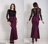 Шикарное женское платье футляр с верхом из гипюра и воланом на талии Adelis