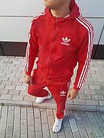 Осенний мужской спортивный костюм Adidas с капюшоном красный (реплика)