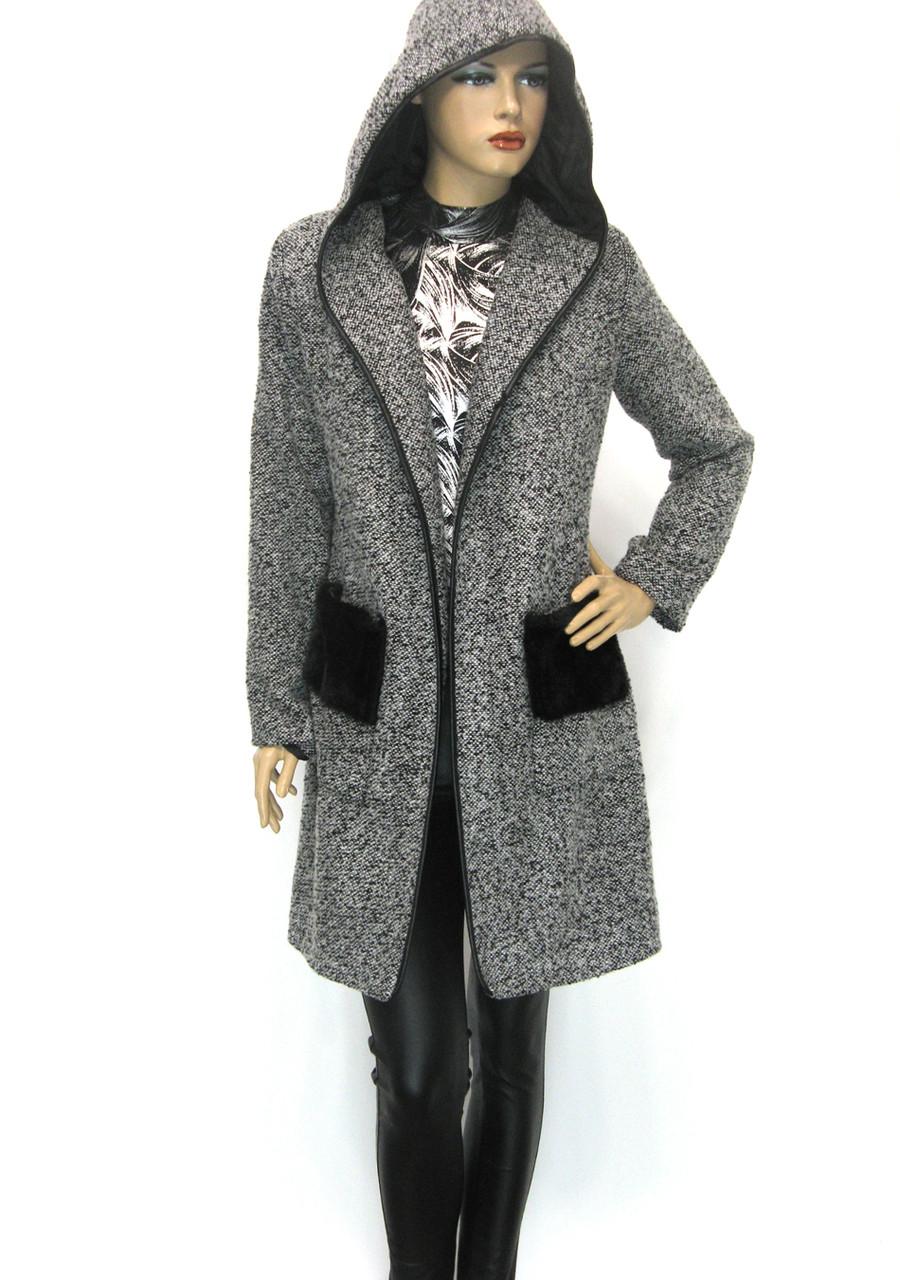 Кардиган пальто з капюшоном із букле