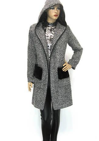 Кардиган пальто з капюшоном із букле, фото 2