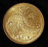 Монета Зимбабве 2 доллара 2001 г.