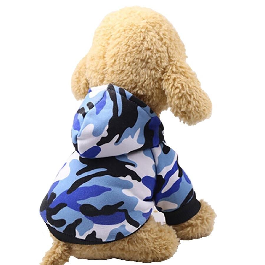 Толстовка для собак «Камуфляж», синій, одяг для собак дрібних, середніх порід