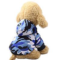 Толстовка для собак «Камуфляж», синій, одяг для собак дрібних, середніх порід, фото 1