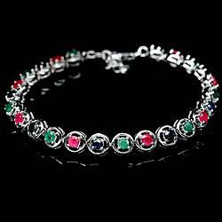 Серебряный браслет с изумрудом, рубином и сапфиром, 223БС