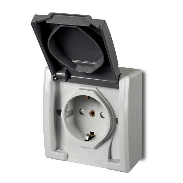 Розетка с крышкой Elektro-Plast Aquant IP55 c з/к 16А серая