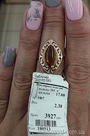 Золотое кольцо с янтарем Богема