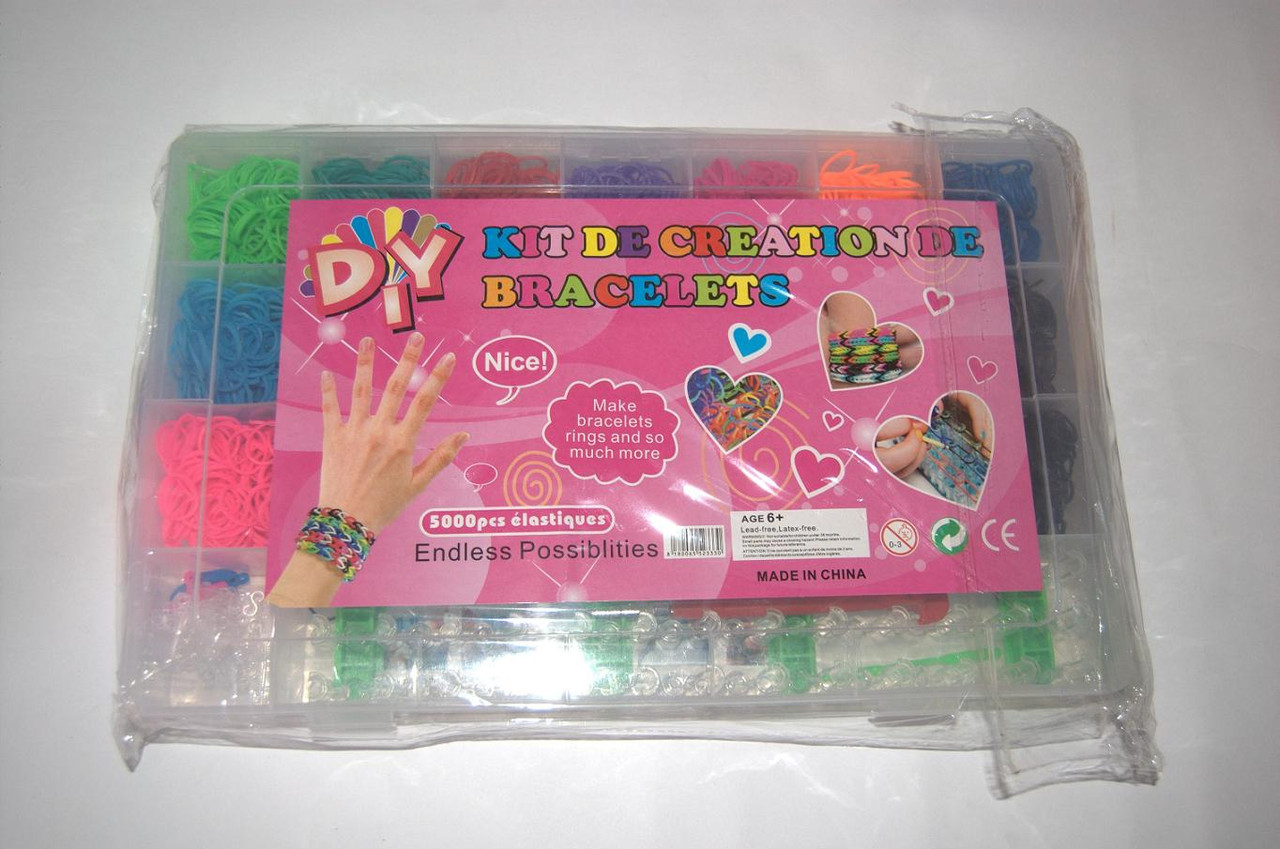 Набор резиночек Rainbow Loom Kit de Creation de Bracelets 5000 шт. со станком (разборной станок)