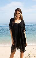 Черная пляжная туника с бахромой