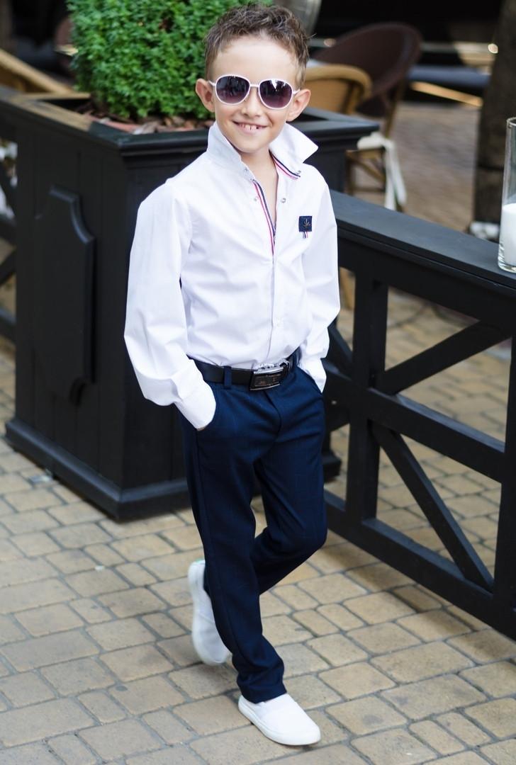 Школьная рубашка для мальчика белая,синяяот116-до152рост
