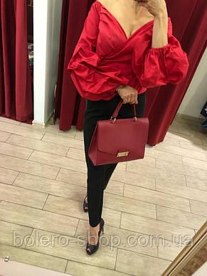 Блуза женская красная из хлопка, фото 2