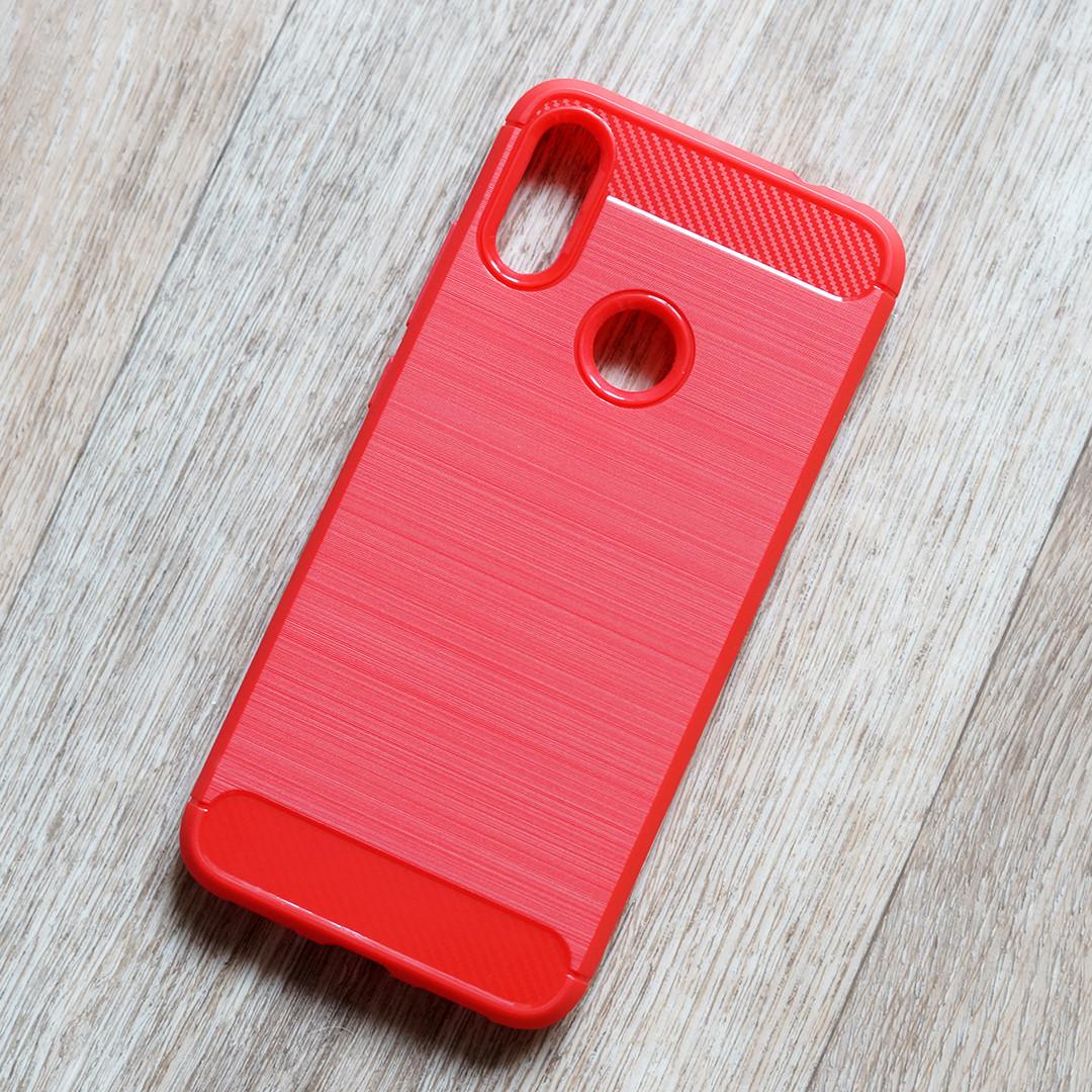 """Противоударный чехол для Xiaomi Redmi Note 7 (red """"Carbon"""")"""