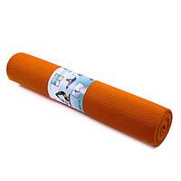 Йогамат, коврик для фитнеса, GreenCamp, 6мм, PVC, оранжевый.   GC611736PVC-1OR