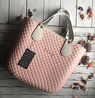 Женская сумка O bag mini в розовом корпусе с разными вариациями аксессуаров