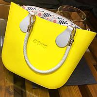 Женская сумка O bag mini в желтом корпусе с разными вариациями аксессуаров