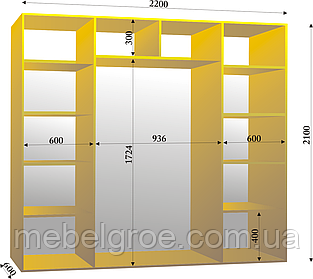 Шкаф-купе трехдверный 2200х600х2100 тм Эксклюзив