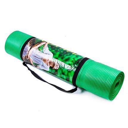 Йогамат, коврик для фитнеса, NBR, 1800х600х10мм, зеленый.  5415-15Y, фото 2