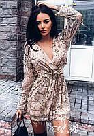 Платье Женское Короткое с длинным рукавом фатин с паетками