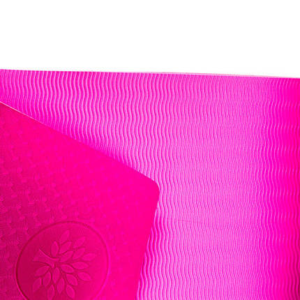 Йогамат, коврик для фитнеса, TPE+TC, 1 слой, 6мм, 183*61*0,6 см, розовый  5580-18P, фото 2