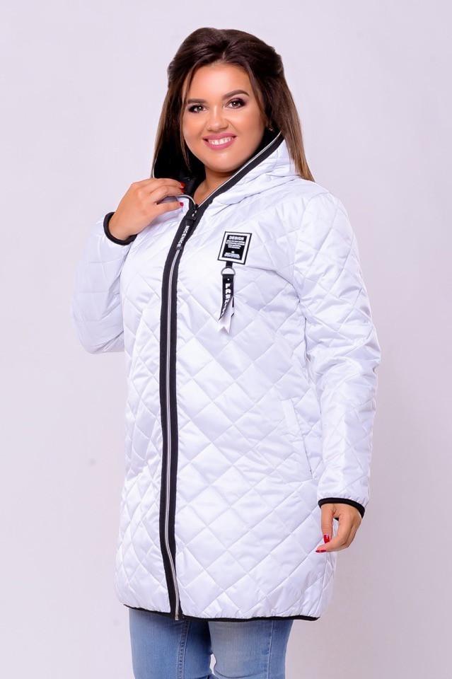 Куртка женская демисезонная белая больших размеров 48-62