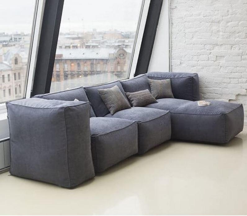 Модульный бескаркасный диван велюр серый