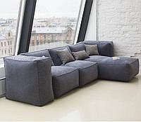 Модульный бескаркасный диван велюр серый, фото 1