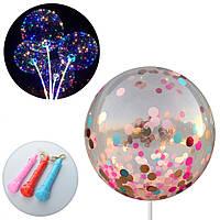 Шарики надувные MK2075-5 BOBO, мишура, на палке70см, гирлянда3м,свет,микс цветов,на бат-ке
