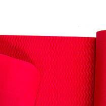 Йогамат, коврик для фитнеса, TPE+TC, 1слой, 6мм, 183*61*0,6 см, коралловый. 5580-18R, фото 2
