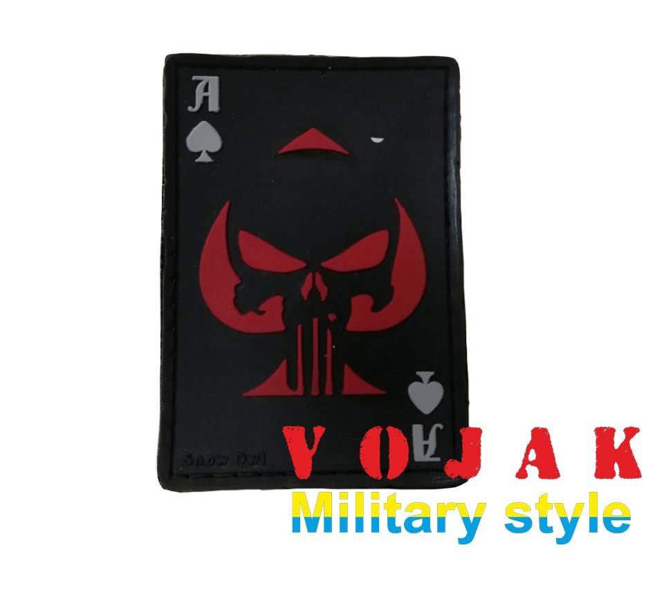 Шеврон ПВХ  «Ace of Spades» (Пиковый Туз) черно / красный