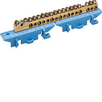 Клемма Hager KM17N нейтральная с держателем 1х25+8x16+8x10мм2