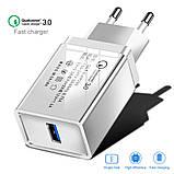 Быстрая зарядка Qualcomm Quick Charge 3.0 Сетевое универсальное зарядное USB, фото 5