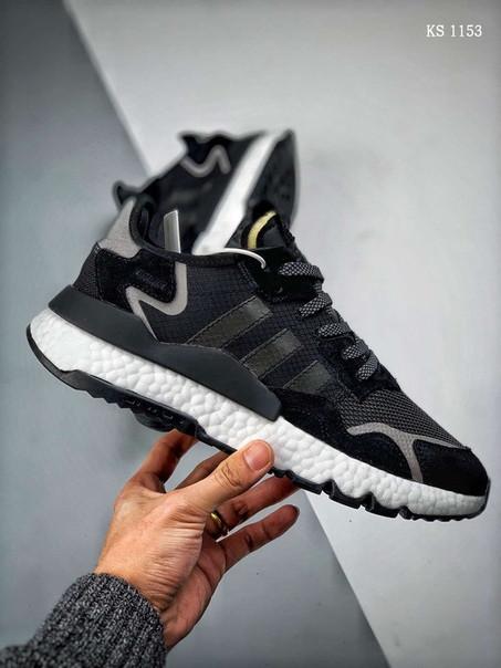 Чоловічі кросівки Adidas Nite Jogger (чорно/білі)