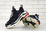 Кросівки Balenciaga Triple S (чорно-біло-червоні) Унісекс, фото 4