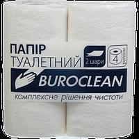Бумага туалетная целюлозная Buroclean 4 рулона белая