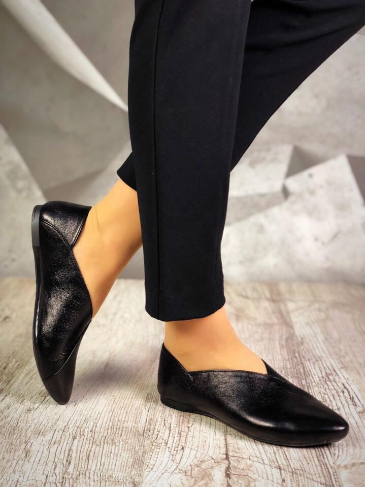 Женские кожаные черные балетки Maryam