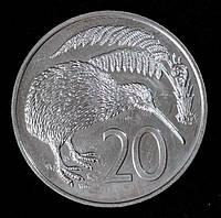 Монета Новой Зеландии 20 центов 1968 г.
