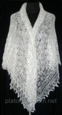 """Шаль """"""""Ландыши"""""""" Ш-00223, белый, вышивка, оренбургский платок (шаль) с вышивкой"""