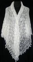 """Шаль """"""""Ландыши"""""""" Ш-00223, белый, вышивка, оренбургский платок (шаль) с вышивкой, фото 1"""